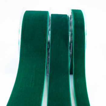012 Emerald Green Swiss Velvet Ribbon, 5 Sizes - Sold by the yard