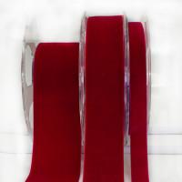 012 Crimson Red Swiss Velvet Ribbon, 5 Sizes - Sold by the yard