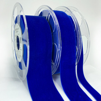 012 Col. 418 Royal Blue Swiss Velvet Ribbon, 5 Sizes - Sold by the yard