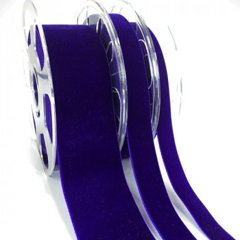 012 Col. 634 Royal Purple Swiss Velvet Ribbon, 5 Sizes - Sold by the yard