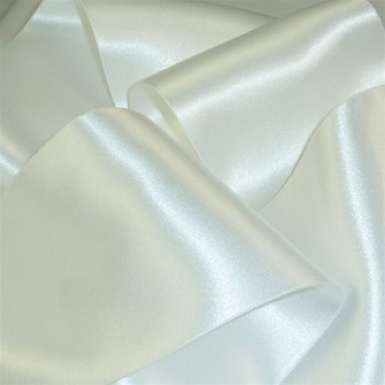 0422-201 White Double Face Satin Ribbon, Sold by the Yard ~ 3 sizes