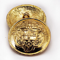 14171 - Gold, Cast Metal Coat and Overcoat Button, 1-1/8""