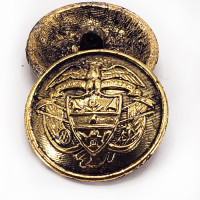 """14172 - Old Antique Gold, Cast Metal Coat and Overcoat Button, 1-1/8"""""""