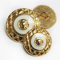 17-554 Gold Metal Button with White Epoxy, 2 Sizes