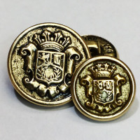 15067 Antique Gold Blazer Button - 2 Sizes