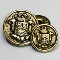 15067 Antique Gold Blazer Button - 2 Sizes