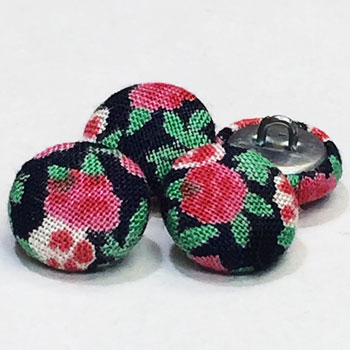 YF-1333-D  Floral Pattern Covered Button, Sold by the Dozen