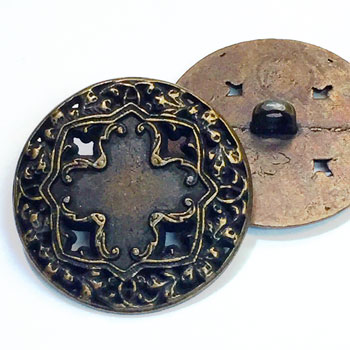 M-034-Antique Brass Vintage Cross Metal Fashion Button