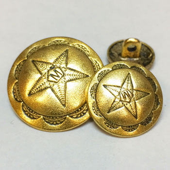 M-7820A - Matte Antique Gold Metal Button, in 3 Sizes