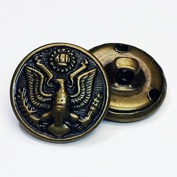 MTL-007 Antique Brass Eagle Button, Sold by the Dozen