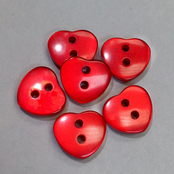 P-8323 - Red Pearl Heart Button, Priced by the Dozen