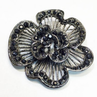 BW-149 -Black Crystal Rhinestone Brooch