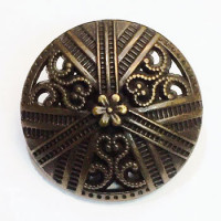 M-028B - Antique Brass Metal Fashion Button - 3 Sizes