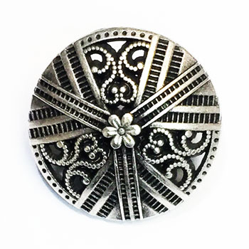 M-028A - Antique Silver Metal Fashion Button - 3 Sizes