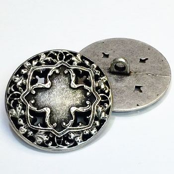 M-033 - Antique Silver Vintage Cross Look Metal Fashion Button