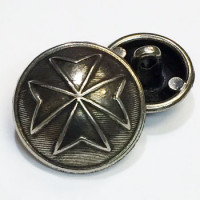 M-035-Antique Silver Metal Cross Button, 2 Sizes