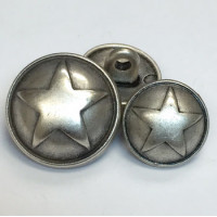 M-150 - Domed Star Metal Button - 2 Sizes