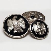 29933B Silver and Black Epoxy Blazer Button, 2 Sizes