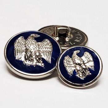 29933N Silver and Navy Epoxy Blazer Button, 2 Sizes