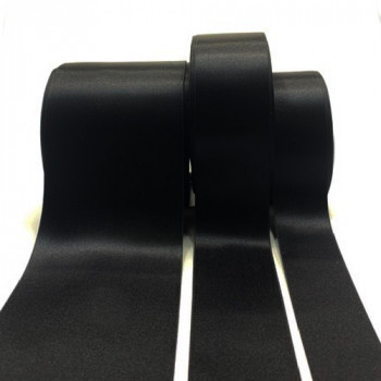 300 Col. 014 Black, Stephanoise Double-face Satin Ribbon, 7 Sizes - Sold by the yard