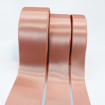 300 Col. 011 Pink Stephanoise Double Face Satin Ribbon, 3 Sizes - Sold by the yard
