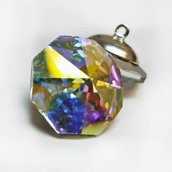 3000 - Crystal AB Octagon-Shaped Rhinestone Button, 18mm