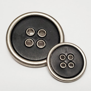 370730 Large, 4-Hole Coat Button in Matte Silver with Matte Black Center - 3 Sizes