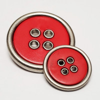 370731 Large, 4-Hole Coat Button in Matte Silver with Matte Red Center - 3 Sizes