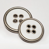 370732 Large, 4-Hole Coat Button in Matte Silver with Matte White Center - 3 Sizes
