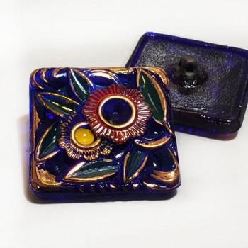 """G-4002-2 Vintage Multicolor Glass Button, 1-1/4"""""""