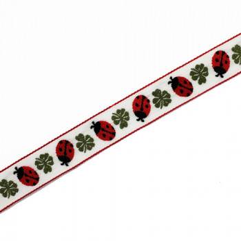 """40927 Embroidered Jacquard Ribbon with Ladybug Pattern, 3/4"""" - Sold by the Yard"""