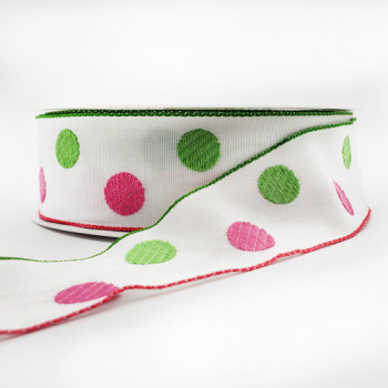 "42066 - Col. 1 - Polka Dot Pattern Grosgrain Ribbon, 1-1/2"" - Sold by the Yard"