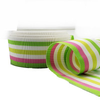"""47030 Fuchsia, Green, and White Stripe Grosgrain Ribbon, 1-1/2"""" - Sold by the Yard"""