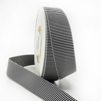 """47032 Black and White Stripe Grosgrain Ribbon, 1"""" - Sold by the Yard"""