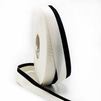 """47033 Black and Off White Stripe Grosgrain Ribbon, 1"""" - Sold by the Yard"""