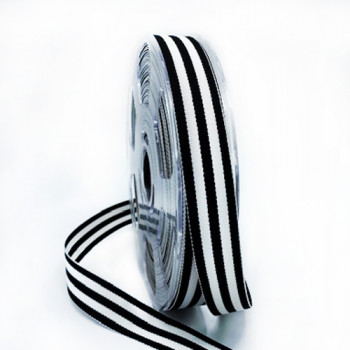 """47034 Black and Off White Stripe Grosgrain Ribbon, 7/8"""" - Sold by the Yard"""