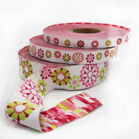 "5-103 col. 4  White, Fuchsia, Light Pink, and Green Jacquard Ribbon, 3 Sizes - 5/8"", 1"", 1-1/2"""