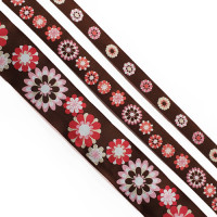 "5-103 - Col. 2 Dark Pink, White, and Brown Jacquard Ribbon, 3 Sizes - 5/8"", 1"", 1-1/2"" - Sold by the Yard"