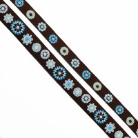 "5-104 - Col. 1 Turquoise and Brown Jacquard Ribbon, 2 Sizes - 5/8"", 1"" - Sold by the Yard"