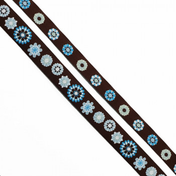 """5-104 - Col. 1 Turquoise and Brown Jacquard Ribbon, 2 Sizes - 5/8"""", 1"""" - Sold by the Yard"""