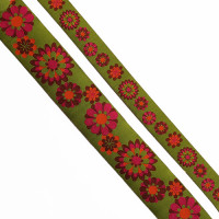 "5-103 - Col. 7 Green and Fuchsia Jacquard Ribbon, 2 sizes - 1"", 1-1/2"" - Sold by the Yard"
