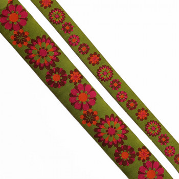 "5-103 - Col. 7  Renaissance Green and Fuchsia Jacquard Ribbon, 2 sizes - 1"", 1-1/2"" - Sold by the Yard"