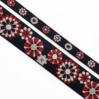 """5-105 - Col. 8 Renaissance Red and Black Jacquard Ribbon, 2 Sizes - 5/8"""", 1-1/2"""", Sold by the Yard"""