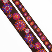 "5-105 - Col. 9 Purple, Fuchsia, Orange, and Brown Jacquard Ribbon, 2 Sizes - 1"" , 1-1/2"" - Sold by the Yard"