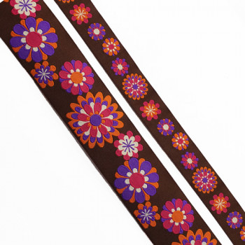 "5-105 - Col. 9 Renaissance Purple, Fuchsia, Orange, and Brown Jacquard Ribbon, 2 Sizes - 7/8"" , 1-1/2"" - Sold by the Yard"