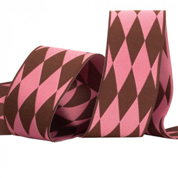 5-13 Col.2 - Pink and Brown Renaissance Ribbon in a Harlequin Jacquard, 2 Sizes - Sold by the yard