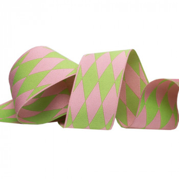 5-13 Col 4 - Pink and Green Renaissance Ribbon in a Harlequin Jacquard, 3 Sizes - Sold by the Yard