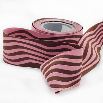 """5-20  Col. 2  Pink with Brown Wave Ribbon 1.5"""" -by the yard"""