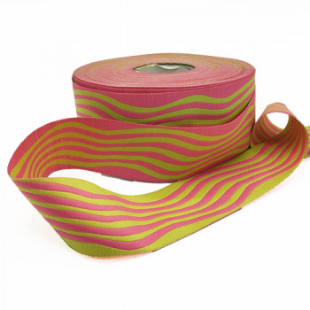 """5-20  Col. 4  Pink with Green Wave Ribbon 1.5"""" -by the yard"""