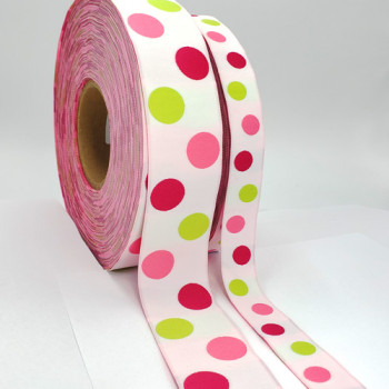 """5-305  Col. 4 Renaissance Magenta, pink, green dots on white Jacquard 7/8"""" - 1 1/2"""" Sold by the yard"""